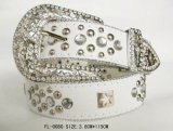 Classic White Belt with Studded and Rhinestone Fl-0080