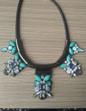 Set Hematite Black Cord & Strass Necklace Earring Jewelry
