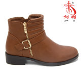 2018 Zipper Draped PU Ankle Lady Worker Boots (AB609)