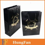 Black Paper Bag with Gold Hot Stamping Branded Logo