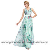 V-Neck Full Length Wedding Party Elegant Chiffon Long Prom Dress