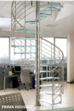 Interior Stainless Steel Glass Spiral Staircase (PR-S13)