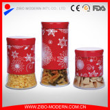 Glass Storage Food Jar for Tea Sugar Coffee and Cookies with Stainless Coating for Christmas Holiday