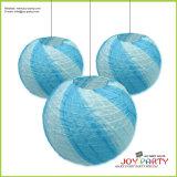 Blue Ribbed Round Paper Lantern