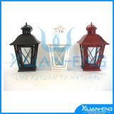 Powder Painted Iron Sheet Lantern with Clear Glass for Pillar Candle