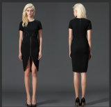 Shot Sleeve Black MIDI Women′s Dress (JP-2015D246)
