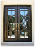 French Style Flat Top Wrought Iron Double Entry Door