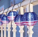 10 LED 2 Inch Solar Lantern String (national flag)