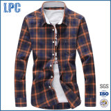 Mens Cotton Plaid Shirts Slim Fit with Turn-Down Collar