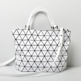 Large Size Rhombic Geometry Matt White Handbag (A0107-2)