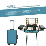 Professional Rolling Makeup Trolley Case Cosmetic Beauty Box Makeup Vanity Case on Wheels Permanent Makeup with Light