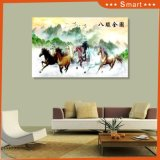 The Traditional Chinese Style Full Painting of 8 Running Horse on The Grassland