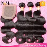 7A Virgin Brazilian Human Hair Silk Base Closure with Bundles, Body Wave Unprocessed Hair Extension 3 Bundles with Silk Closure