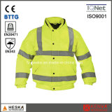 High Visibility Safety Wear Men Hivis Winter Bomber Pilot Jacket Waterproof En20471
