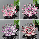 Lotus Flower Shape Crystal Candle Holder for Decoration