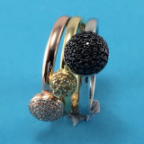 New Arrival 2 Colors Sweet Pearl Silver Ring Wholesale for Women R10489