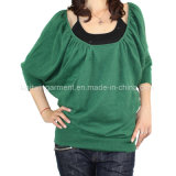 Women Fashion Knitted Round Neck Long Sleeve Sweater Clothes (L15-038)