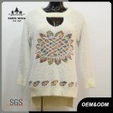Women Hi-Lo Hem Sunflower Sweater