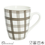 White Porcelain with Decal Checked Coffee Mug
