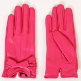 Lady Sheepskin Leather Driving Fashion Gloves with Bow Decoration (YKY5161)