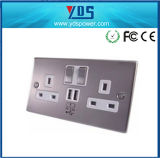 Brushed Chrome White Insert 2 Gang 13A Switched Wall Socket with Double USB Wall Socket