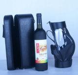 Soft Black Leather Wine Case and Bag Set