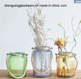 Free Sample Colorful Glass Flower Vase with Handle Water Culture