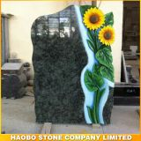 Natural Granite Sunflower Carving Headstone Tombstone