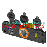 Waterproof 2 Ports USB Socket & Cigarette Socket with Ligter &Herit Socket with Panel Mount for Marine /Auto /Jeep