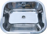 Wall Mounted Stainless Steel Laundry Sink Tub with Washboard (A121-1)
