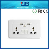 2 Gang Universal Switched Socket Outlet with Dual USB