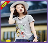 Fashion Sexy Cotton/Polyester Printed T-Shirt for Women (W295)