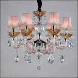 Beautiful Dining Room Crystal Chandelier Lamp in Pink Shades