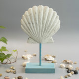 Vintage Polyresin Seashell Table Decoration with Wood Base