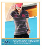 Female Striped Embroidery Customize Polo Shirt