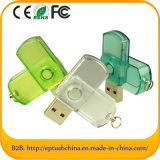Transparent Swivel Customized Flash Memory Disk USB Pendrive (ET615)