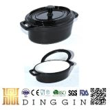 Black Color Oval Cast Iron Cooking Pot