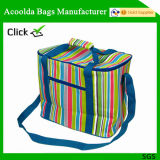 Polyester Striped Cooler Bag with Long Handle