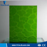 Green Ripple Glass/Blue Flora Glass/Bronze Moran Patterned Glass