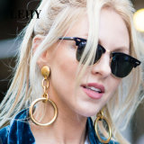 Worn Gold Plated Hollow Circle Metal Chain Drop Earrings
