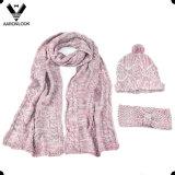 Lady′s Scarf Hat Headband 3PCS Winter Knitting Set