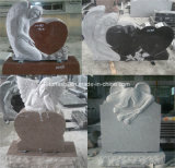 Black/Grey/Red Marble/Granite Angel Headstone for Grave