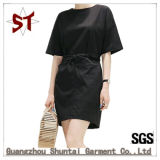 Wholesale Lady Casual Black T-Shirt Straight Dress with Belt
