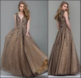 Beads Bronze Lace Prom Dresses Custom Sleeveless V-Neck Party Evening Gowns Z1046