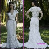 2012 V Neckline Short Sleeve White Lace Wedding Dress Long Bridal Wedding Gown L01