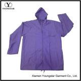 Wholesale Purple Color Women′s PVC Raincoat with Hood