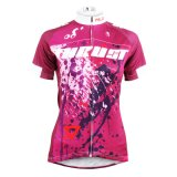 Lotus Red Short Sleeve Cycling Shirts Women′s Cycling Jerseys Row of Han Sport Outdoor Invisible Full-Zip