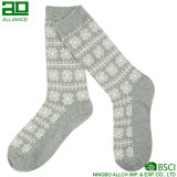 Grey Happy Christmas Joyful Dress Crew Winter Socks