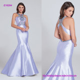 Unique Jeweled High Halter Neckline and Bodice Sleeveless Mikado Mermaid Evening Gown with Jeweled Wide Crisscross Back Straps