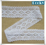 Chemical White Embroidered Lace Edge Trim Cotton Lace